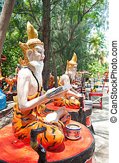 Ascetic statue at the temple, Thailand