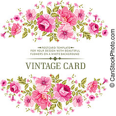 Luxurious color rose card. - Luxurious vintage card of color...