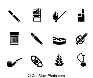 Smoking and cigarette icons - Silhouette Smoking and...