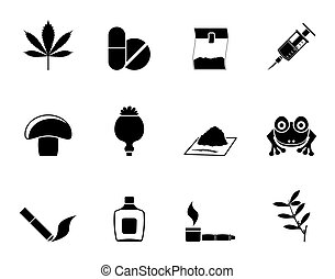 Different kind of drug icons - Silhouette Different kind of...
