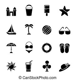 Beach, sea and holiday icons - Silhouette Beach, sea and...