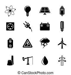 Power and electricity icons