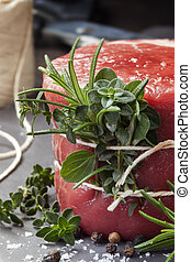 Raw Beef Fillet Steak with herbs