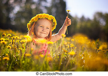 Image of happy child on dandelions field, cheerful little...