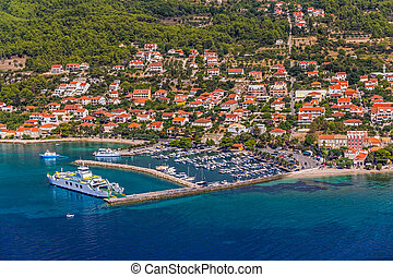 Orebic town in Croatia - Helicopter aerial shoot of tourist...