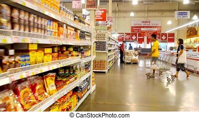 Supermarket Hypermarket Shelves and Goods Rreview Time Lapse...