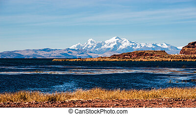 Lake Titicaca from the bolivian side. The lake is located at...