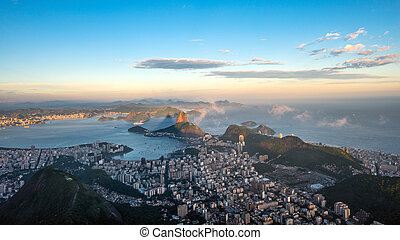 Rio de Janeiro, view from Corcovado to Sugarloaf Mountain in...