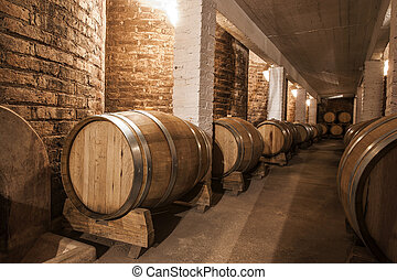 Wine barrels in Cellar of Malbec, Mendoza Province,...