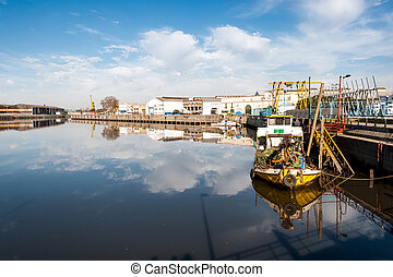Boats in Riachuelo Shipyard in picturesque neighborhood of...