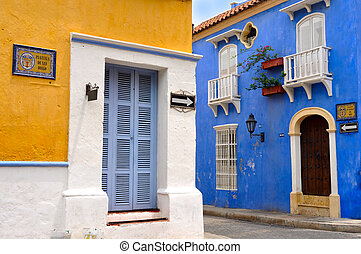 Typical Colonial houses, San Diego Square in the Old City of...