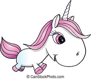 Pretty White Unicorn Vector Illustration