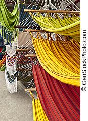 Hammocks, market place in Ecuador