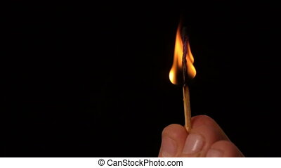Hand holding match burning out on black background in slow...