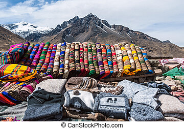 Handicrafts in The Andes of Peru - Traditional woven fabrics...
