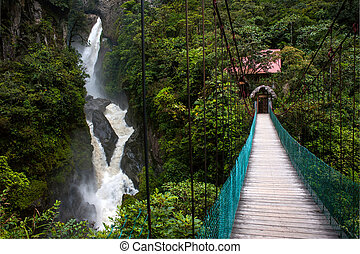 Mountain river and waterfall in the Andes - Paílón del...