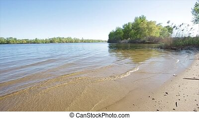 Sandy beach on the river.