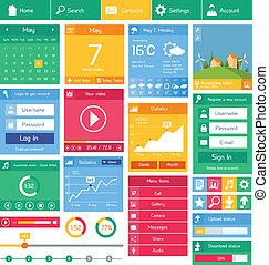 Flat user interface template - Flat user interface design...