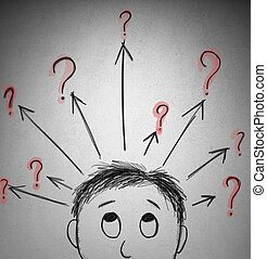 Question mark - Concept of question with a sketch of a...