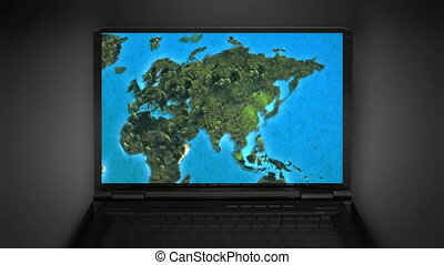 internet zoom in the world map - the world map animation on...