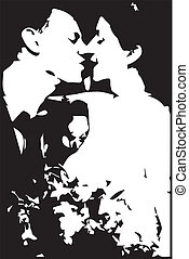 Marriage Kiss - Drawing of a pair of newly weds kissing in...