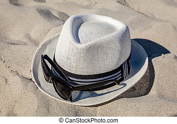 White Straw Fedora with Sunglasses on Beach - White straw...
