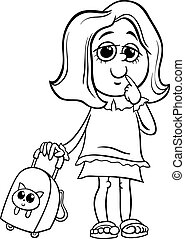 grade school girl coloring page