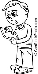 grade school boy cartoon coloring page - Black and White...