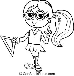 grade school girl coloring page - Black and White Cartoon...