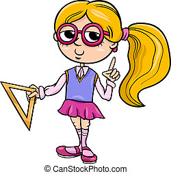 grade school girl cartoon illustration - Cartoon...