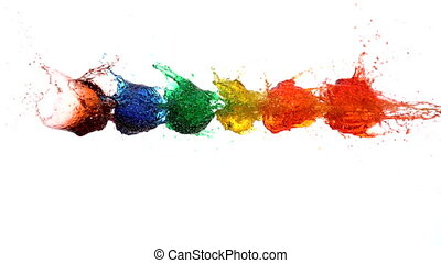 Arrow shooting through water balloons on white background in...
