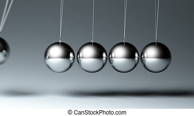 Newtons cradle seamless looped 3d animation, two views