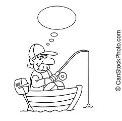 Cartoon Fisherman - Monochrome outline cartoon fisherman in...