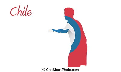 Chile world cup 2014 animation with player in red white and...