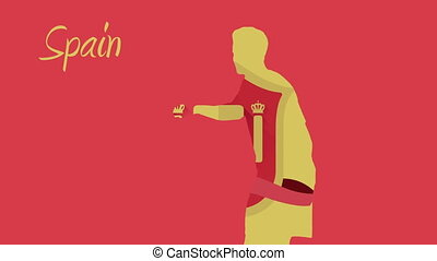 Spain world cup 2014 animation with player in red and yellow