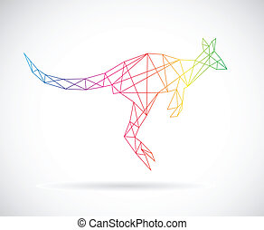 Vector design of kangaroos on white background