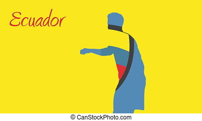Ecuador world cup 2014 animation with player in yellow and...