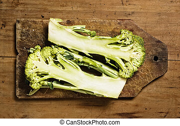 Brocoli on wooden table.