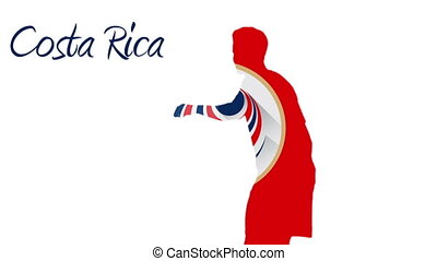 Costa rica world cup 2014 animation with player in red white...