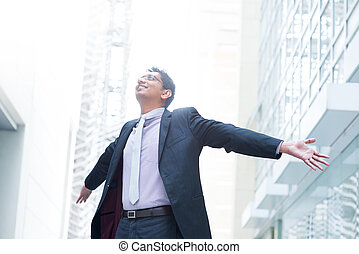 Business freedom - Indian businessman open his arms wide,...