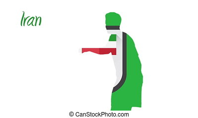 Iran world cup 2014 animation with player in green and white...