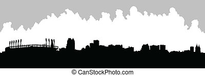 Cleveland Skyline - Skyline silhouette of the city of...
