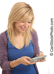 Girl with cellular - Girl reading and sendind sms
