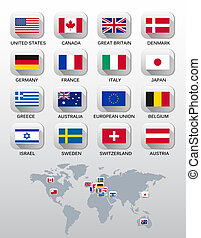 Flags of different countries. Vector.