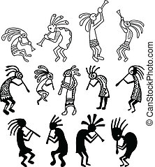Hand drawn Kokopelli vectors - A set of drawings of...