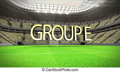 Group E world cup animation in stadium with text