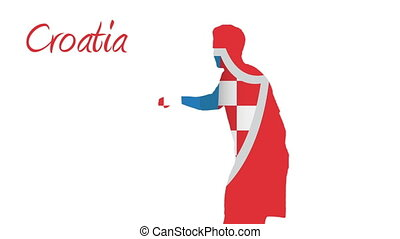 Croatia world cup 2014 animation with player in red white...