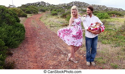 Young couple going for a picnic