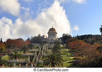 Bahai Gardens  - Israel, Haifa Bahai Gardens and temple