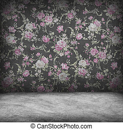Concrete wall and floor texture with pink rose wallpaper ,...